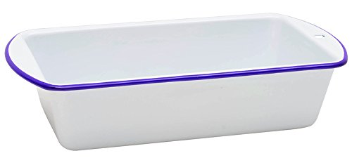 Enamelware Loaf Pan - Solid White with Blue (White Loaf Pan)