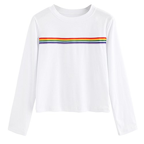 Romwe Women's Long Sleeve Summer Rainbow Color Block Striped Crop Top School Girl Teen Tshirts White M