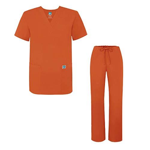 (Adar Universal Medical Scrubs Set Medical Uniforms - Unisex Fit - 701 - MND - S Mandarin Orange)