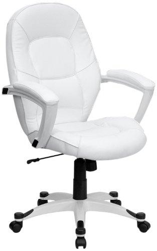 Flash Furniture QD-5058M-WHITE-GG Mid-Back White Leather Exe
