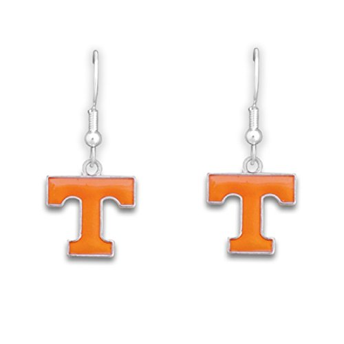 (FTH Silver Tone Fishhook Earrings with an Iridescent Tennessee Volunteers Charm)