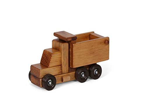 - Amish-Made Wooden Toy Dump Truck, Child-Safe Finish
