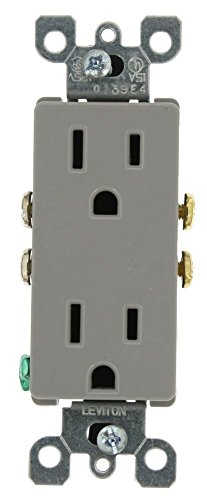 (Leviton 5325-GY 15 Amp, 125 Volt, Decora Duplex Receptacle, Residential Grade, Grounding, Gray)