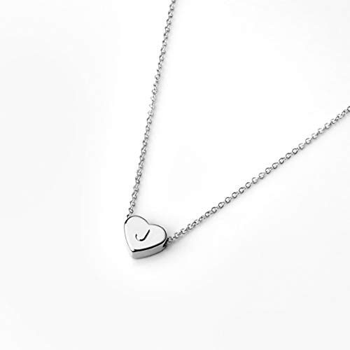 - Silver Initial Necklace Valentine's Day Gifts for Her Personalized Necklace Heart Necklace - FHN (J)