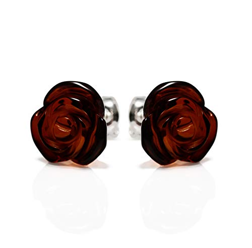 925 Sterling Silver Stud Earrings Rose with Cherry Genuine Natural Baltic ()