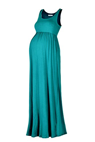 [Beachcoco Women's Maternity Maxi Tank Dress (S, Jade)] (Maternity Jersey Dress)