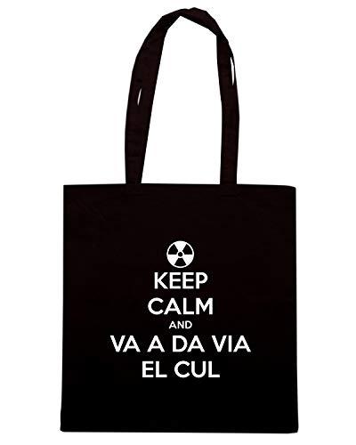 Borsa Shopper Nera TKC1366 KEEP CALM AND VA A DA VIA EL CUL