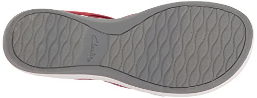Clarks Womens Arla Shaylie Platform, Red/White Heathered Elastic, 6 Wide US