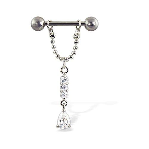 Chain Drop Nipple Ring (MsPiercing Nipple Ring With Three Gems And Teardrop On Chain, 12 Ga, 14 Ga, Or 16 Ga, Gauge: 14 (1.6Mm), 5/8