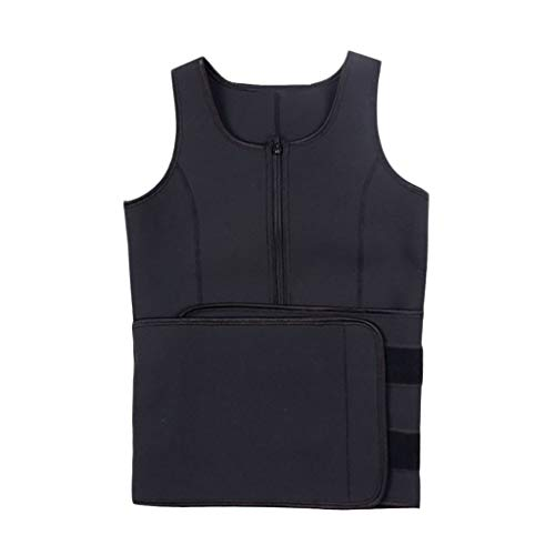 BOOMJIU Sweat Neoprene Sauna Suit Tank Top Vest with Adjustable Shaper Waist Trainer Belt