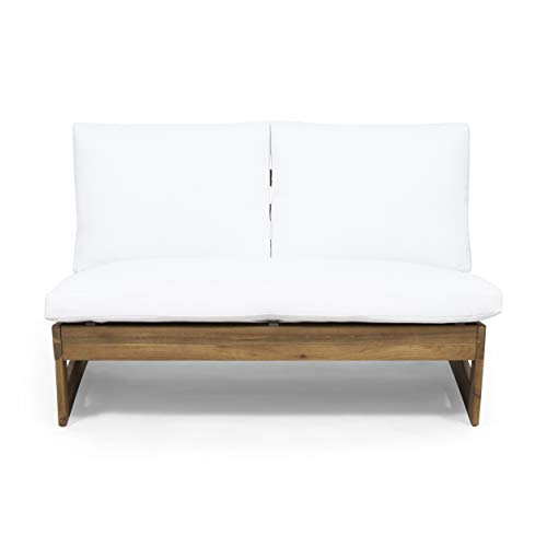 Great Deal Furniture Kaitlyn Outdoor Acacia Wood Loveseat with Cushions, Teak and White