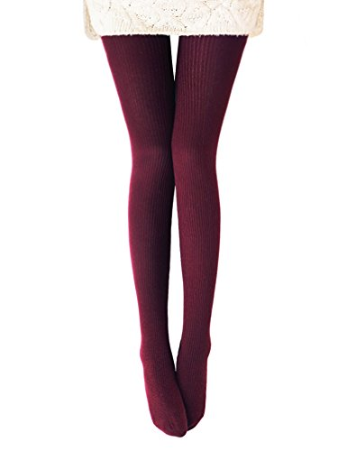 Vero Monte 1 Pair Womens Wool Blend Ribbed Tights - Opaque Knit Tights (Wine) (Cable Womens Tights)