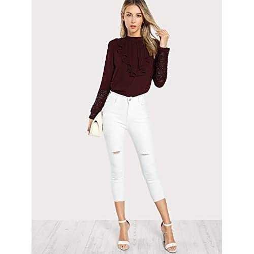 31 aCkFT4LL. SS500  - Alfa Fashion Ruffled Lace Casual Top for Women Western Under 500