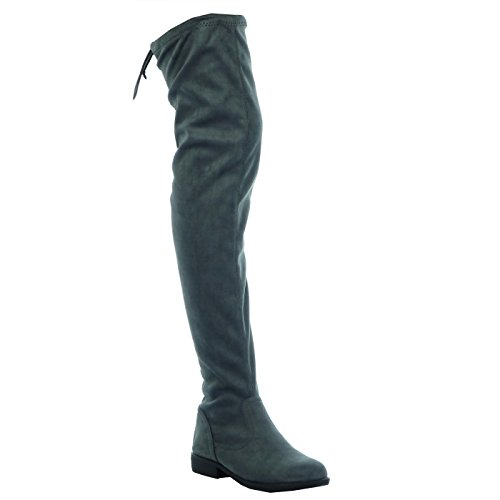 Angkorly soft 5 CM laces Fashion Block Thigh thigh Grey Boot 3 high Women's heel Shoes boot rqCw0rBx