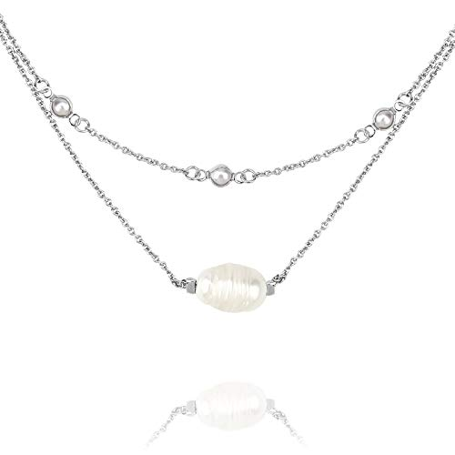POMINA Multi Layer Pearl Chain and Fresh Water Pearl Short Necklace for Women ()