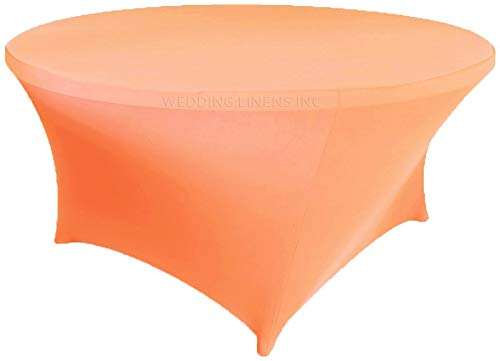 Hail Mary Gifts 5Ft Round Spandex Table Cover Apricot/Peach (1pc/pk)