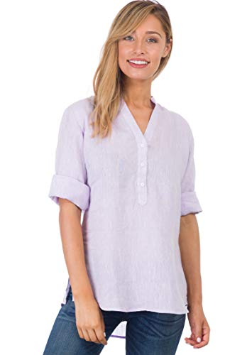 (CAMIXA Women's 100% Linen Casual Button-up Popover Shirt Effortless Airy Basic L Lilac)