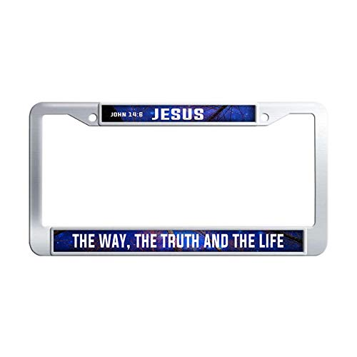 - Bible Verses Sayings License Plate Frame Jesus The Way, The Truth The Life License Plate Covers Retro Car Tag Frame,Stainless Steel