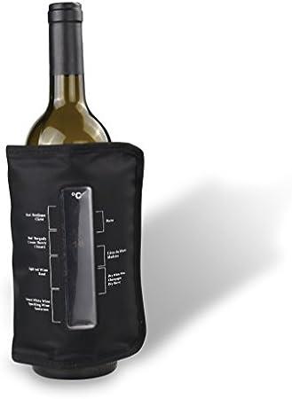 Vin Bouquet FIE 109 - Funda enfriadora con Termómetro Elástica, Cubierta Enfriadora Gel, Velcro Ajustable, Ideal para Conservar el Vino