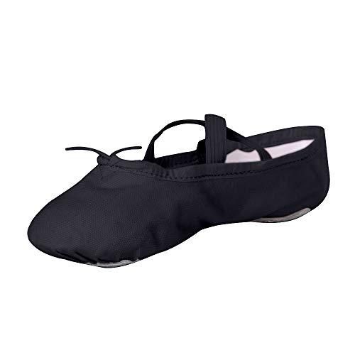 STELLE Girls Canvas Ballet Slipper/Ballet Shoe/Yoga Dance Shoe (Toddler/Little Kid/Big Kid/Women/Boy) (8MB, Black)
