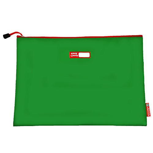 Rough Enough Tarpaulin Classic Durable Big Document Pouch with Zippered A4 Size Important Storage Envelope Holder Large File Folder for Filing Accessories Pocket Organizer for School Business Green by RE ROUGH ENOUGH