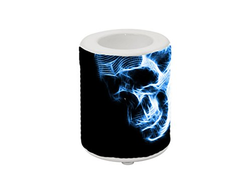 Candle Holder for 1.5 inch candle / Neon Skull Portrait Skeletal Zombie Image