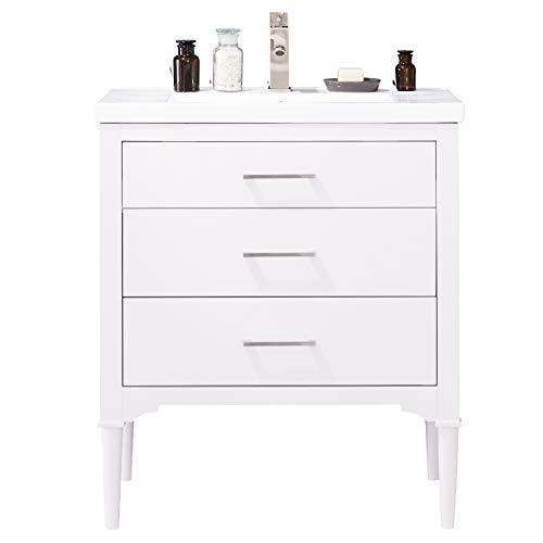 """LC30DWP Austin 30"""" Bathroom Vanity Set in White Made with Hardwood and Integrated Porcelain Top"""