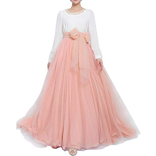 Women Wedding Long Maxi Puffy Tulle Skirt Floor Length A Line with Bowknot Belt High Waisted for Wedding Party Evening (Blush, Plus Size)]()