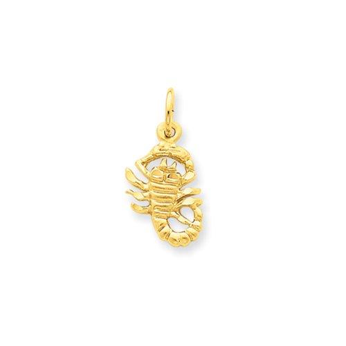 Scorpio The Scorpion zodiaque satiné et taille diamant Charm en or 14K