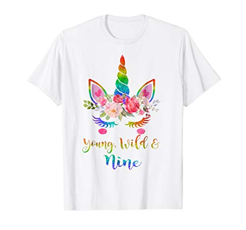Cute Unicorn Girl 9th Birthday Tshirt | Young, Wild & -