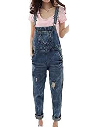 LD Womens Vintage Denim Bib Overall Pocket Distressed Slim Ripped Hole Skinny Jeans