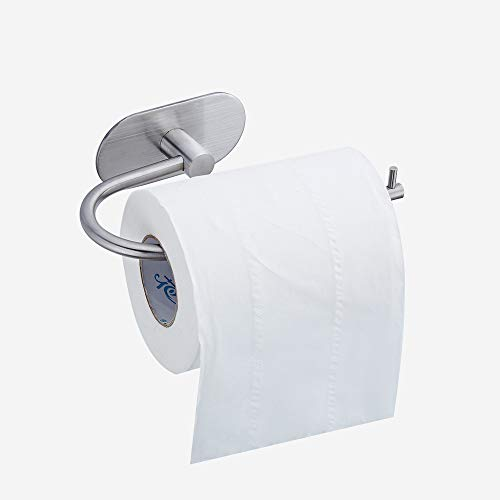 Geentop Self Adhesive Toilet Paper Holder, Stainless Steel Bathroom Tissue Paper Dispenser Roll Towel Holder Storage with Brushed Finish Rushproof, Strong and Waterproof by Geentop