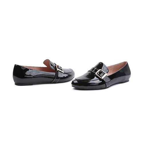 Simples Boucle Plates Tête Chaussures De Chaussures PU Chaussures Femmes De La Black Banlieue Ronde Bureau Métal Mode vI8HWqw7P