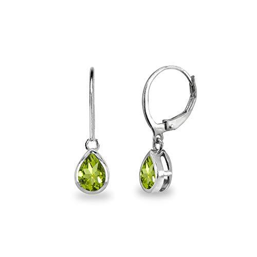 Sterling Silver Peridot 7x5mm Teardrop Bezel-Set Dainty Dangle Leverback Earrings for Women, Teen Girls