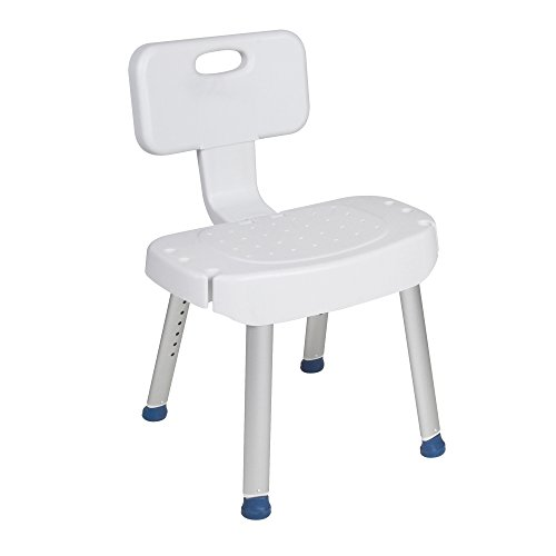 Drive Medical Bathroom Safety Shower Chair with Folding Back, White (Drive Folding Bath Bench)
