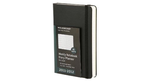 Moleskine 2012 18 Month Weekly Notebook Planner Black Hard Cover Pocket ()