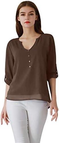 EFOFEI Womens Casual Long Sleeve Deep V Neck Tops Button Chiffon Shirt Blouse