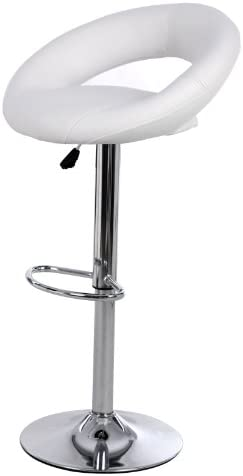 jersey'seating PU Leather Hydraulic Lift Adjustable Counter Bar Stool Dining Chair White 153