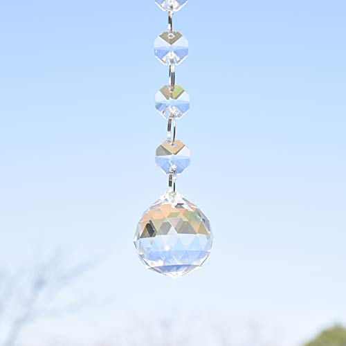 SHINY HANDLES 30mm Pack of 4 Clear Crystal Glass Faceted Ball with Crystal Bead Chains Hanging Prisms Pendant Suncatcher for Room Decoration