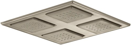 Brushed Bronze Watertile Showerhead - KOHLER K-98740-BV Watertile Rain Overhead Showering Panel with 4 22-Nozzle Sprayheads, Vibrant Brushed Bronze