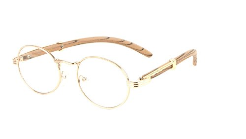 Scholar Luxury Oval Metal & Wood Eyeglasses/Clear Lens Sunglasses (Rose Gold & Light Brown Wood Frame, Clear)