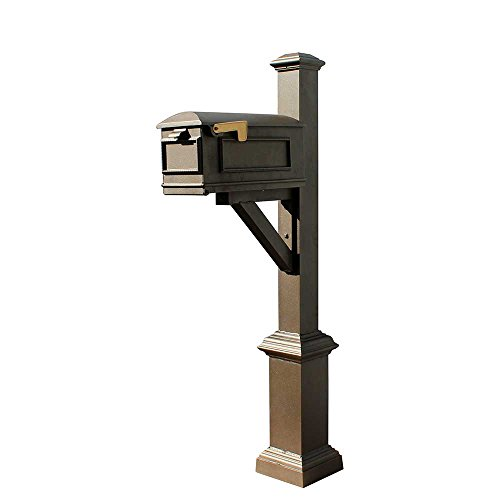Qualarc WPD-SB1-S7-LMC-BZ Westhaven Cast Aluminum Post Mount System with Lewiston Mailbox, Square Base and Pyramid Finial, Ships in 2 Boxes, Bronze