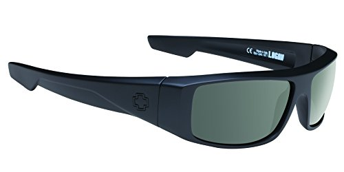 Spy Optic Logan 670939973864 Polarized Wrap Sunglasses, (Soft Matte Black/Happy Gray/Green - Polarized Dna Sunglasses
