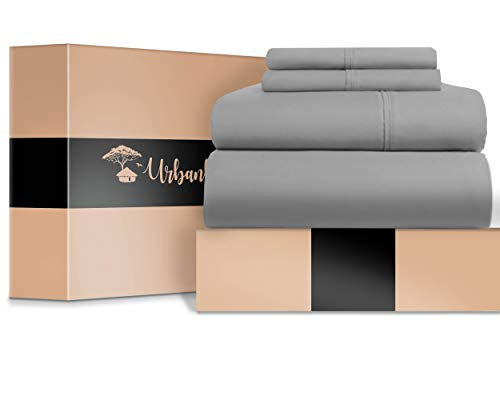 URBANHUT Egyptian Cotton Sheets Set - 700 Thread Count 100% Cotton Bed Sheets Queen (4 Piece), Luxury Queen Size Sheets, Deep Pocket, Soft & Silky Sateen Weave (Silver Grey)