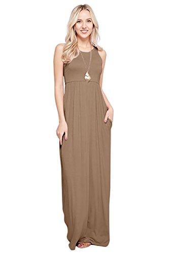 Maxi Dresses for Women Solid Lightweight Long Racerback Sleeveless W/Pocket -Mocha (3X)