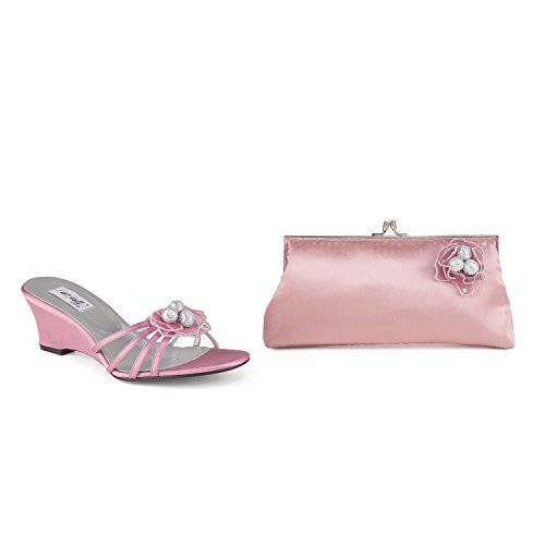 FARFALLA Satin Wedge Sandals Dusty Pink 37mFjc0