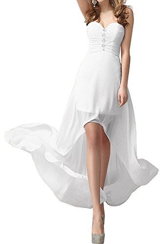 Weiß Herzform Hi Ballkleid Chiffon Abendkleider Promkleider Lo Damen Elegant Ivydressing Partykleid qvOxw