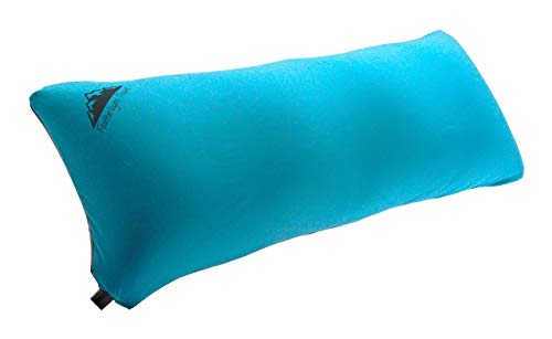 ComfortLuxe Inflatable Travel Size (28 inches x 12 inches) Body Pillow. Proven Relief for Traveling Side Sleepers (Light Blue/Grey) (Cotton & TPU