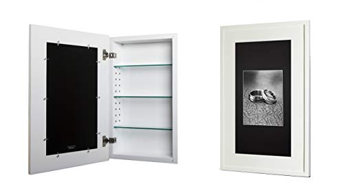 14x24 White Concealed Medicine Cabinet (Extra Large), a Recessed Mirrorless Medicine Cabinet with a Picture Frame Door (Available in Multiple Colors & Styles) (Fox Medicine)