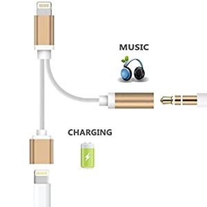 VIGEROUS LIGHTBW-H0-M10 2-in-1 Lightning Charger/Adapter, 3.5 mm Audio Adapter Stereo Jack Cable, Lightning to 3.5 mm AUX Headphone Jack Audio Adapter for iPhone 7/7 Plus - Gold